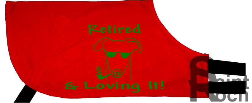 Pre designed Adopt a greyhound Coat with the font:-